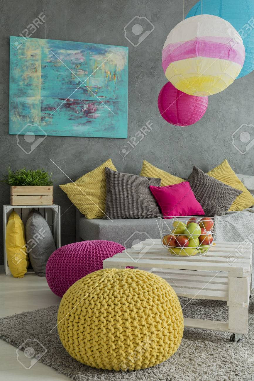 Colorful Decorations And Furniture In Positive Energy Room Stock  # Muebles Positive
