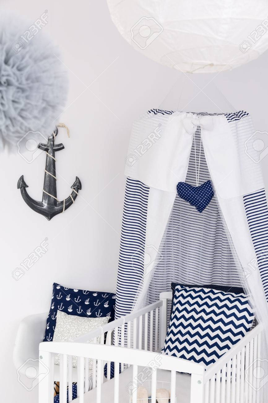 Adorable Baby Bed With Canopy And Nautical Accessories Stock Photo Picture And Royalty Free Image Image 67265879