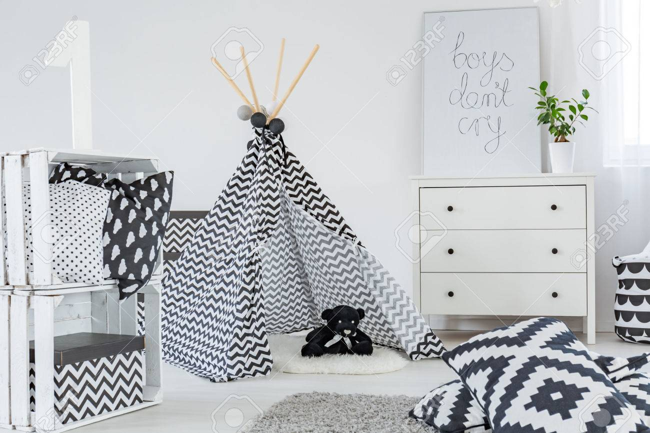 Kid Bedroom With Play Tent Dresser And Diy Crate Storage Stock Photo Picture And Royalty Free Image Image 67267361