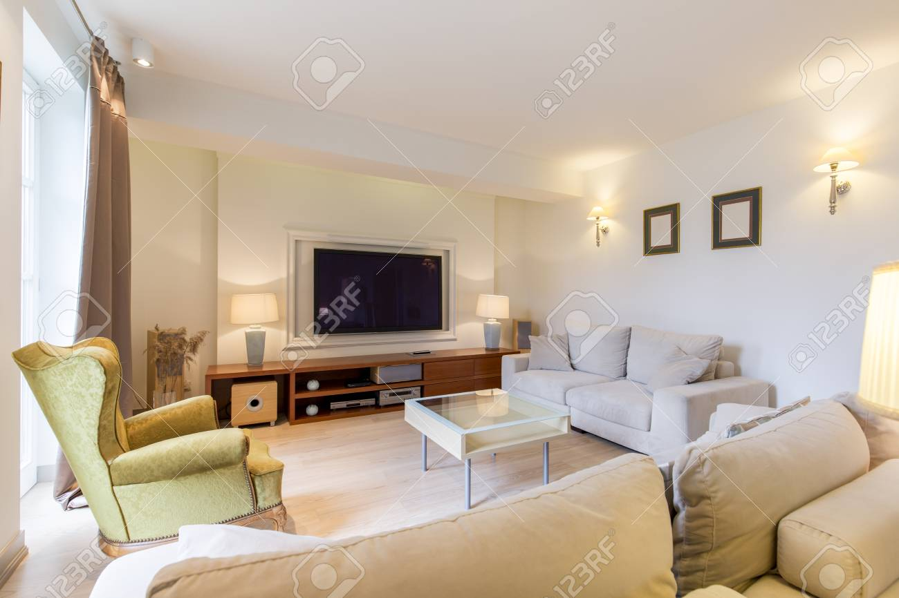 Open And Cozy Living Room With A Place To Relax With Tv Stock Photo Picture And Royalty Free Image Image 67267374
