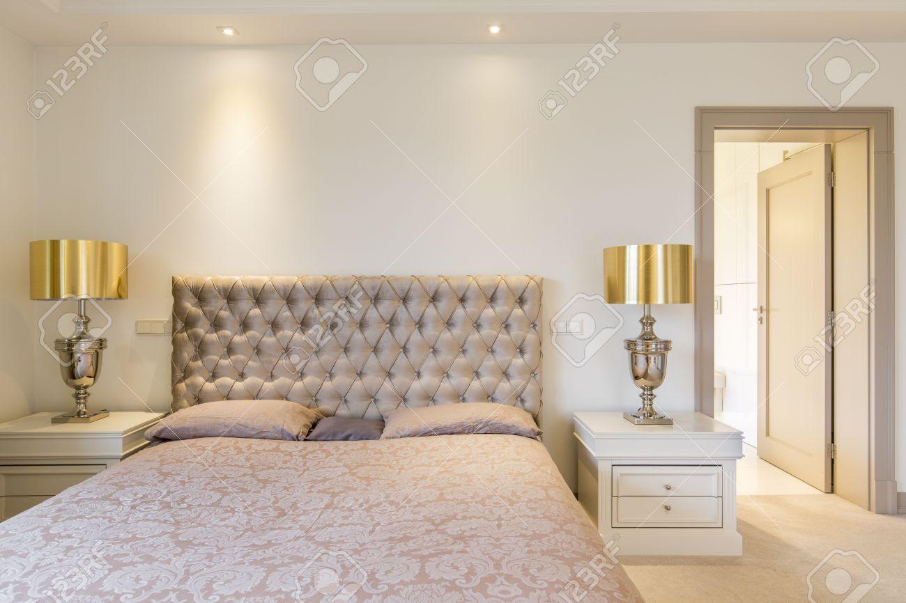 Lit Avec Tete De Lit Matelassé légante chambre des maîtres avec lit double avec tête de lit matelassée