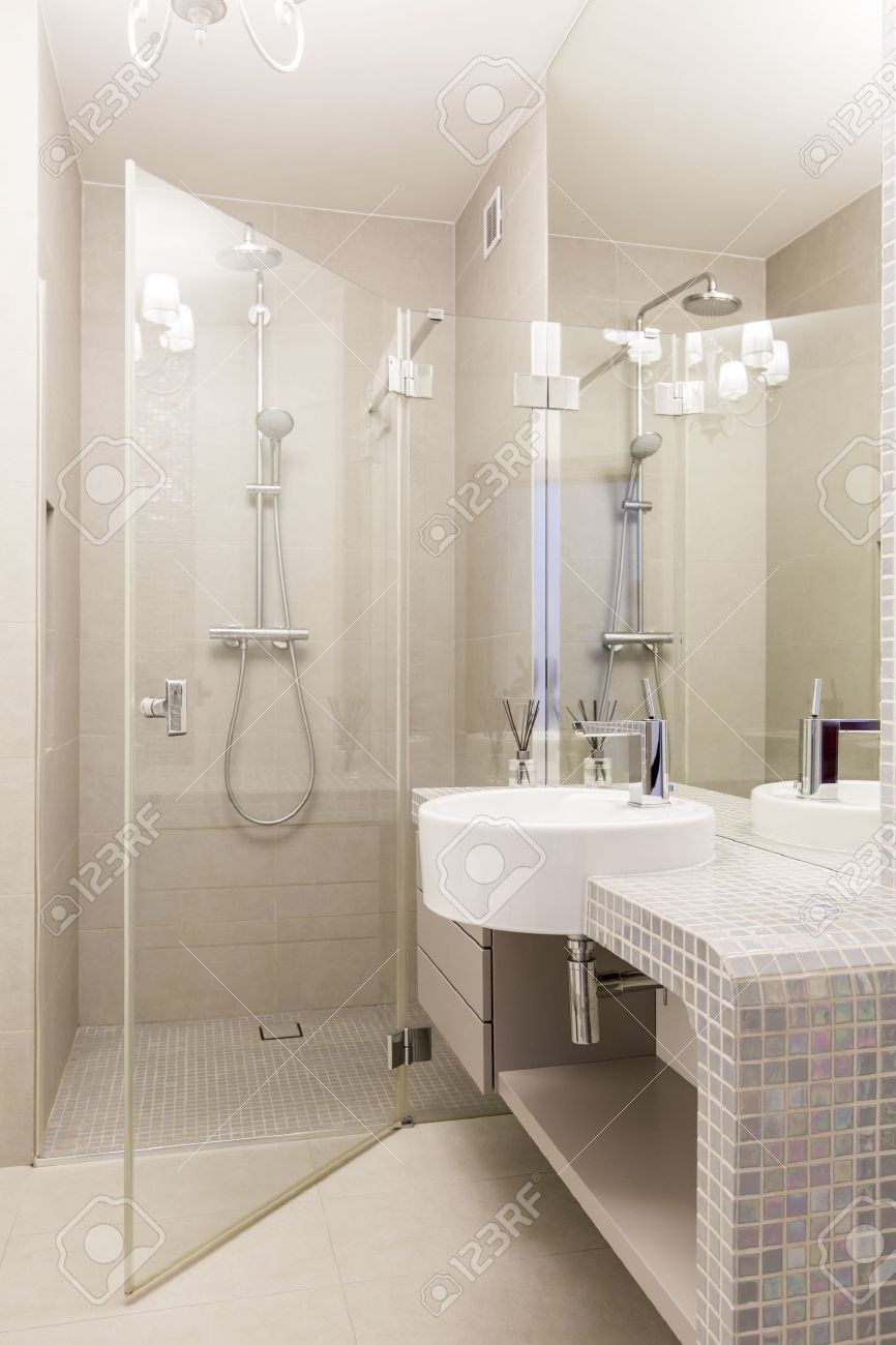 Modern Bathroom With Glass Shower Cabin And Sink With Mosaic.. Stock ...