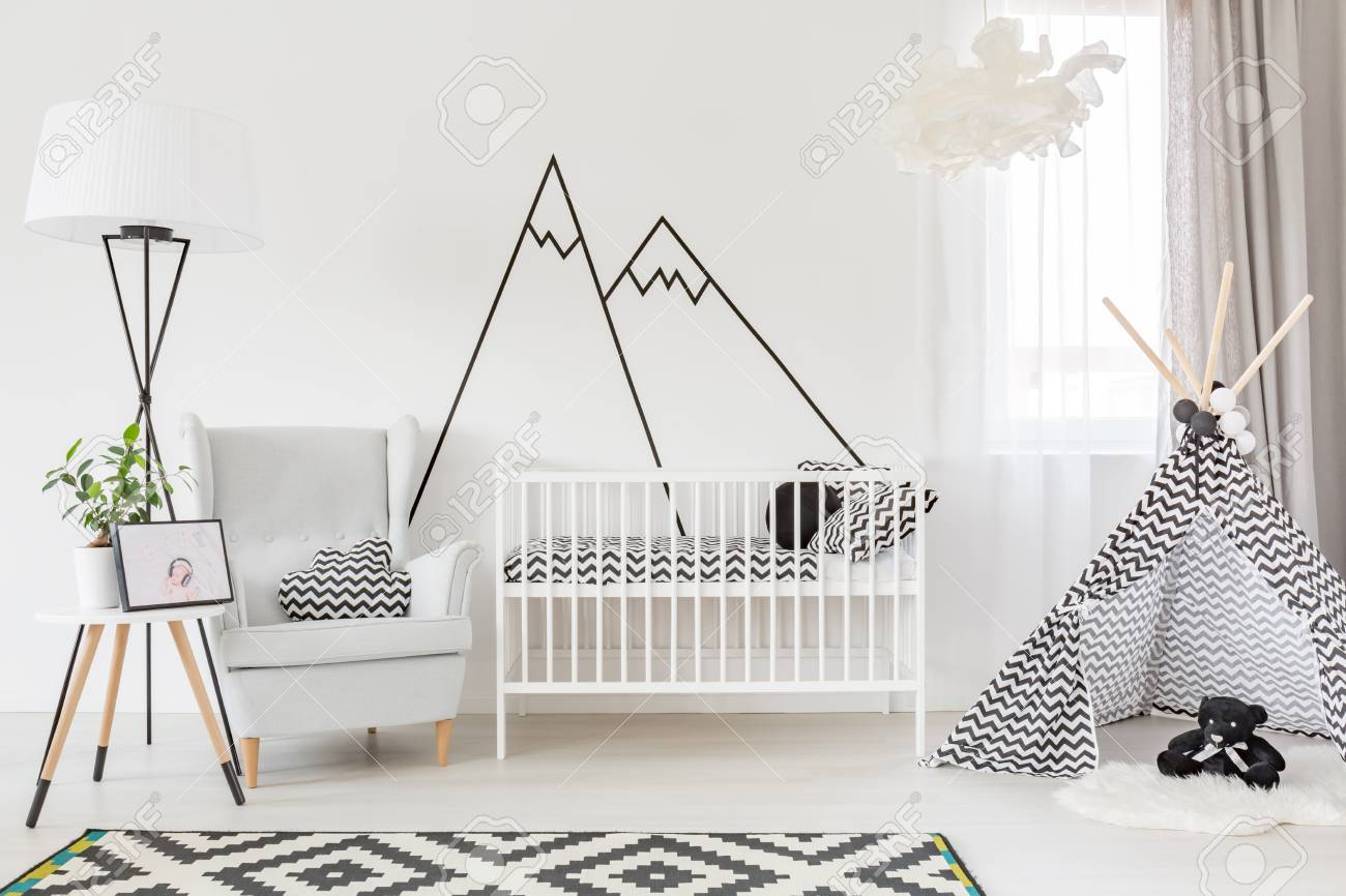 Light Functional Baby Room With Cot, Play Tent And Armchair Stock Photo, Picture And Royalty Free Image. Image 67267446.
