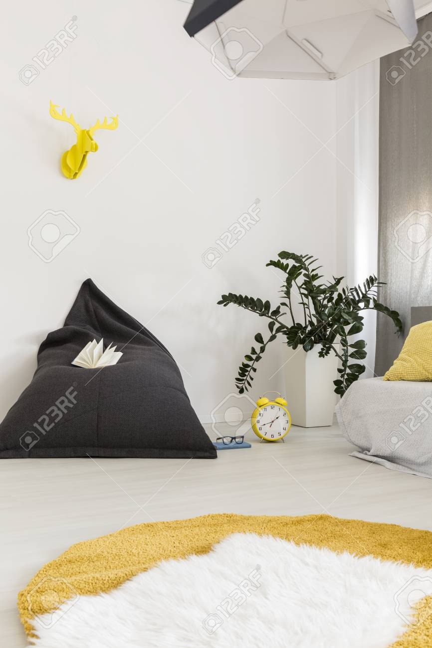 Cosy Living Room With White And Yellow Carpet And Pillow Armchair ...