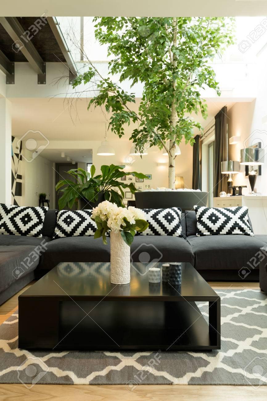 Table Basse Grand Salon grand salon avec canapé à motifs, table basse noire, plantes et puits de  lumière