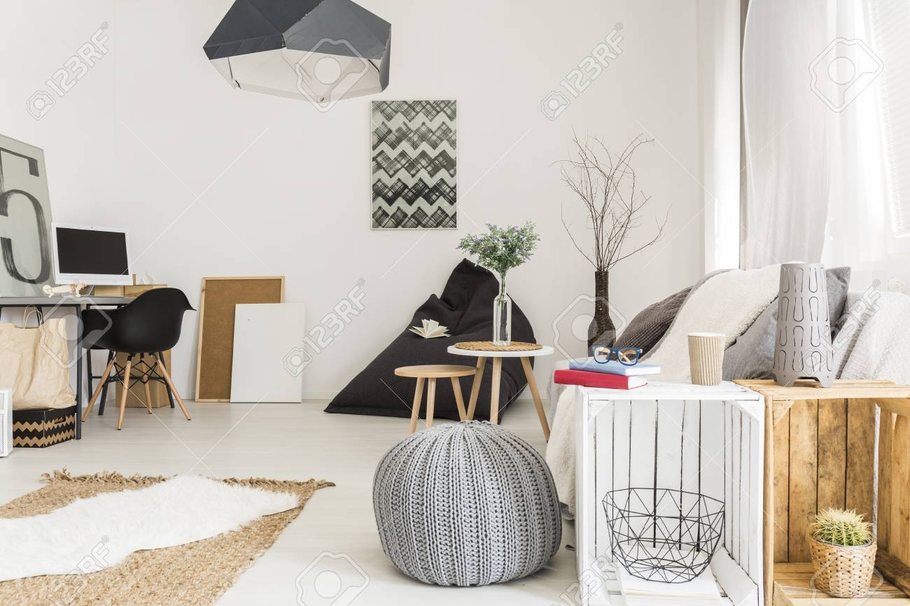 Cosy Minimalist Living Room With Wooden Furnitures White Walls Stock ...