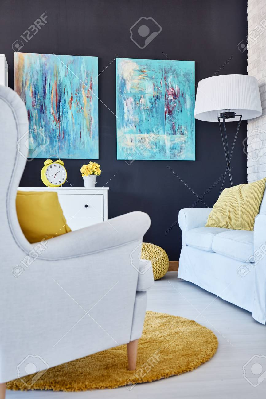 Blue Paintings In Modern Living Room With White Furniture And ...