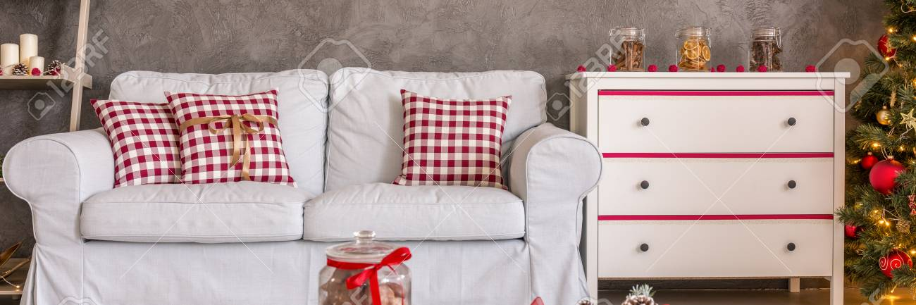 Sofa And Chest Of Drawers In Christmas Living Room Stock Photo ...