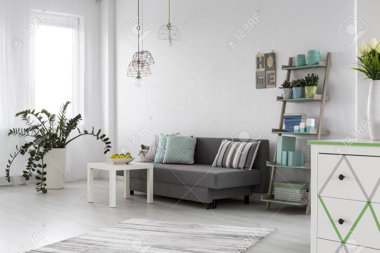 Adorable And Spacious Modern Living Room With Grey Sofa And White