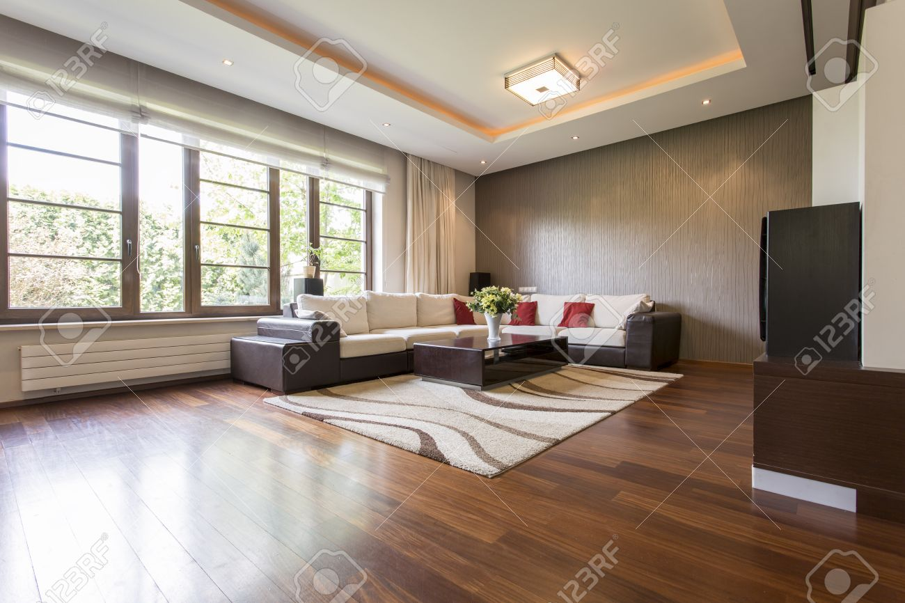 modern living room design with brown parquet stock photo picture rh 123rf com parquet grey living room parquet flooring for living room