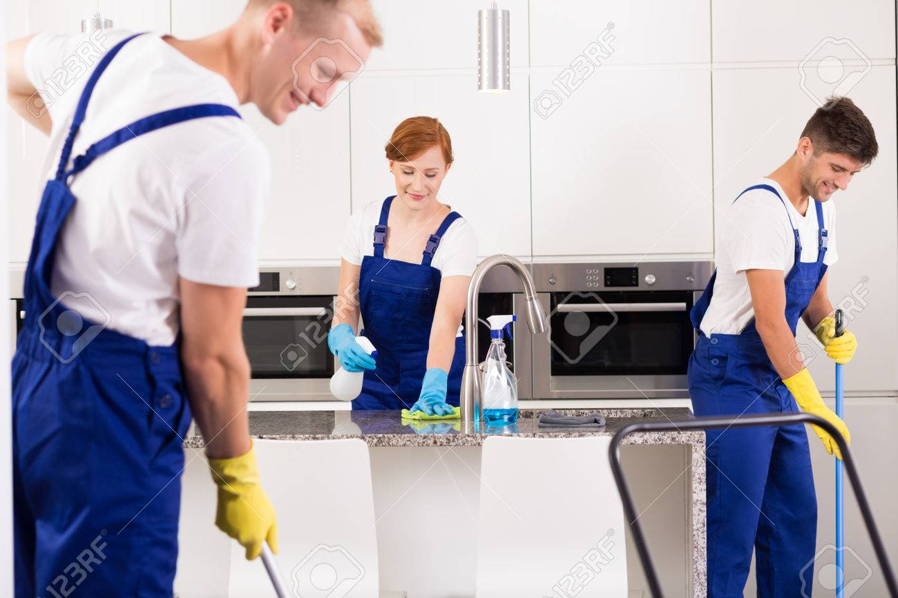 Team of professional house cleaners cleaning kitchen - 68146886