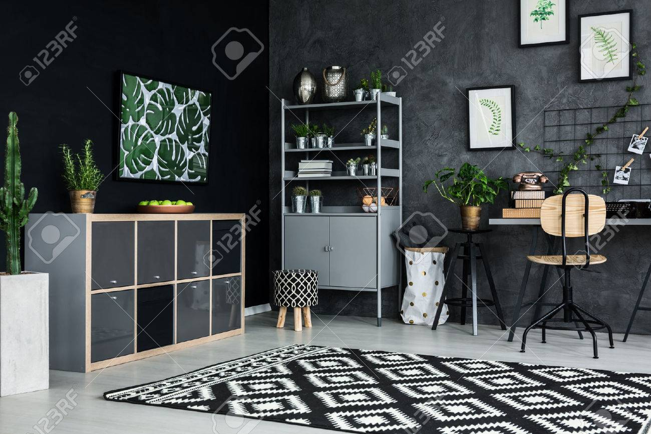 Room corner of modern flat with cyan wall Stock Photo - 68146937