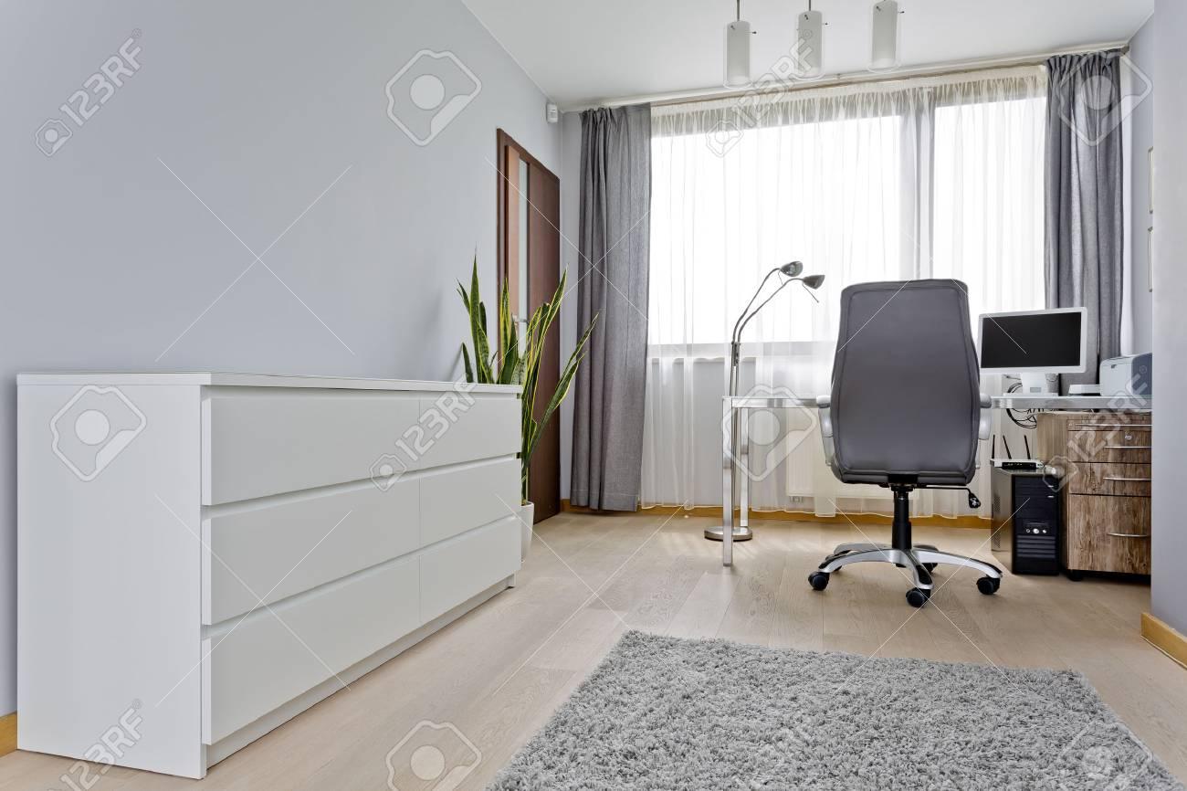 Modernes Graues Innenministerium Mit Weisser Kommode Schreibtisch