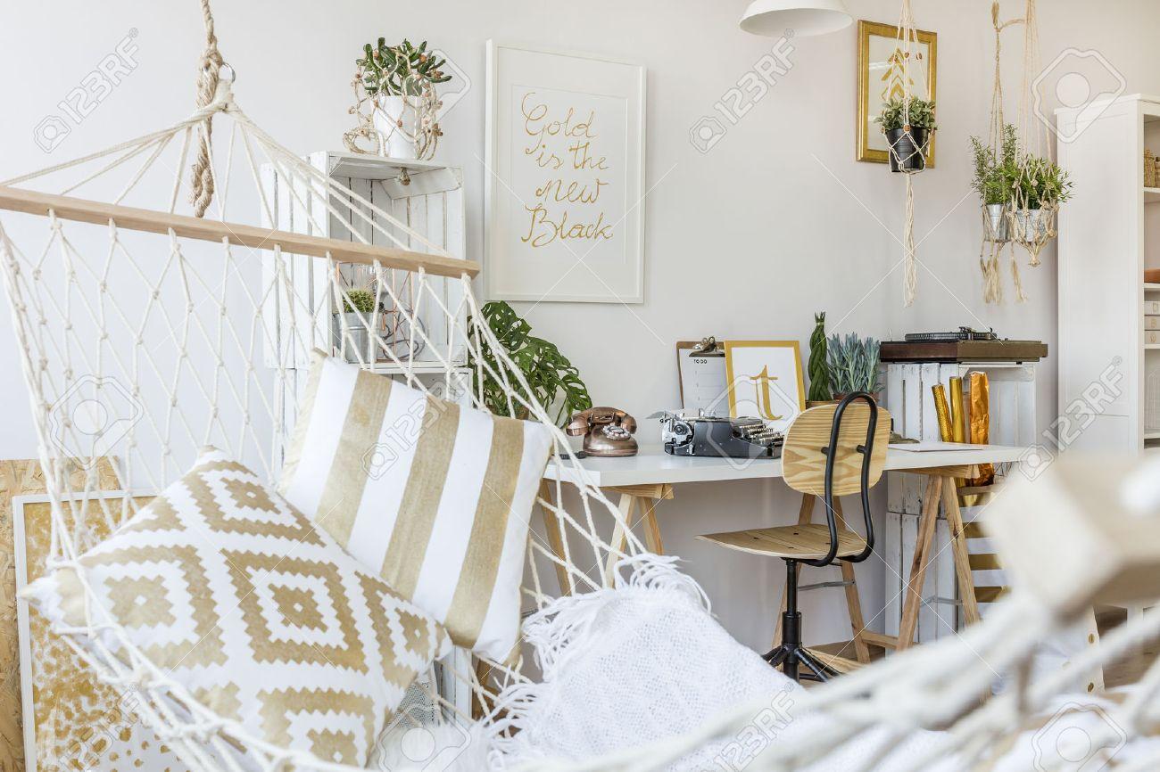 Modern Hammock At Living Room Interior Stock Photo