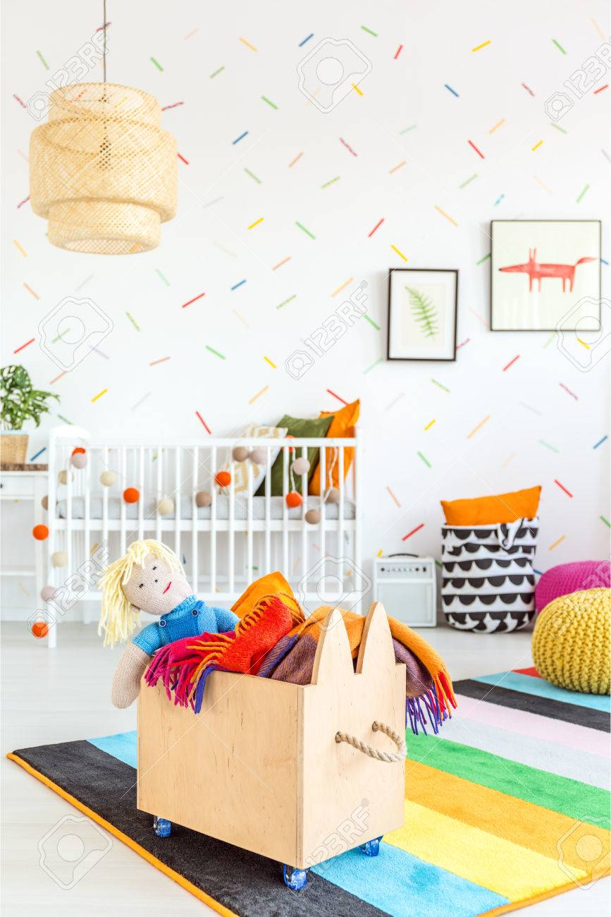 White Child Room With Wooden Toy Box Stock Photo, Picture And ...