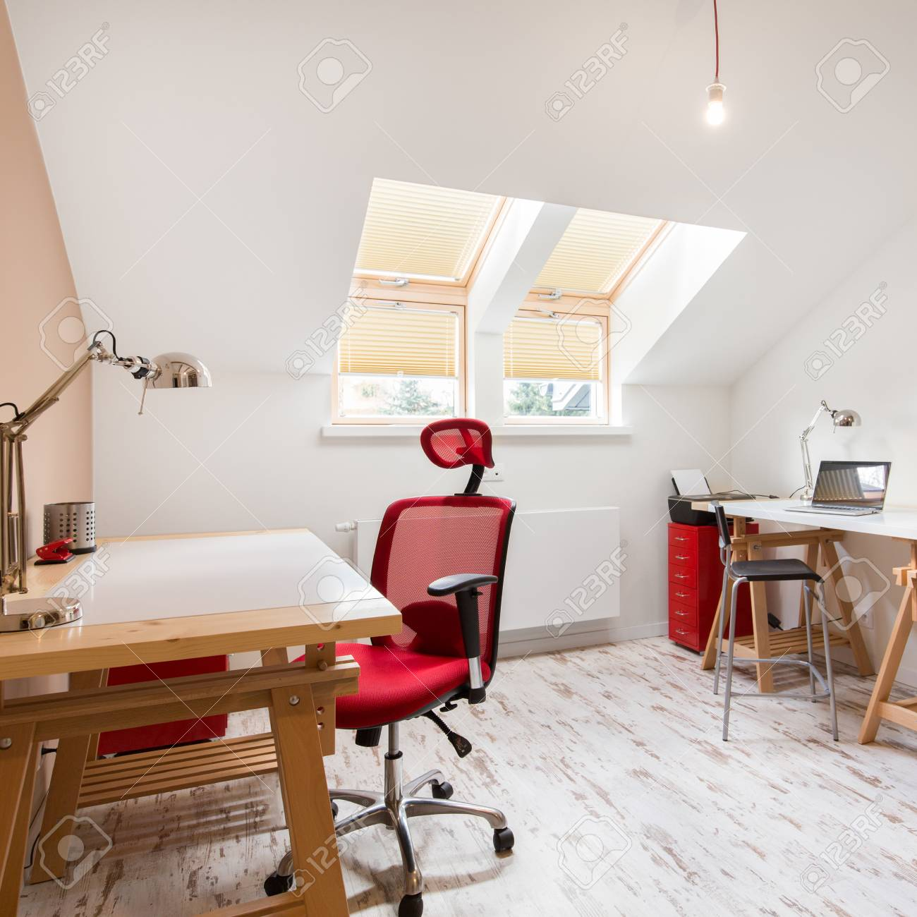 White home office design big white Rug Stock Photo White Home Office With Wooden Desks At The Attic In Big Residence 123rfcom White Home Office With Wooden Desks At The Attic In Big Residence