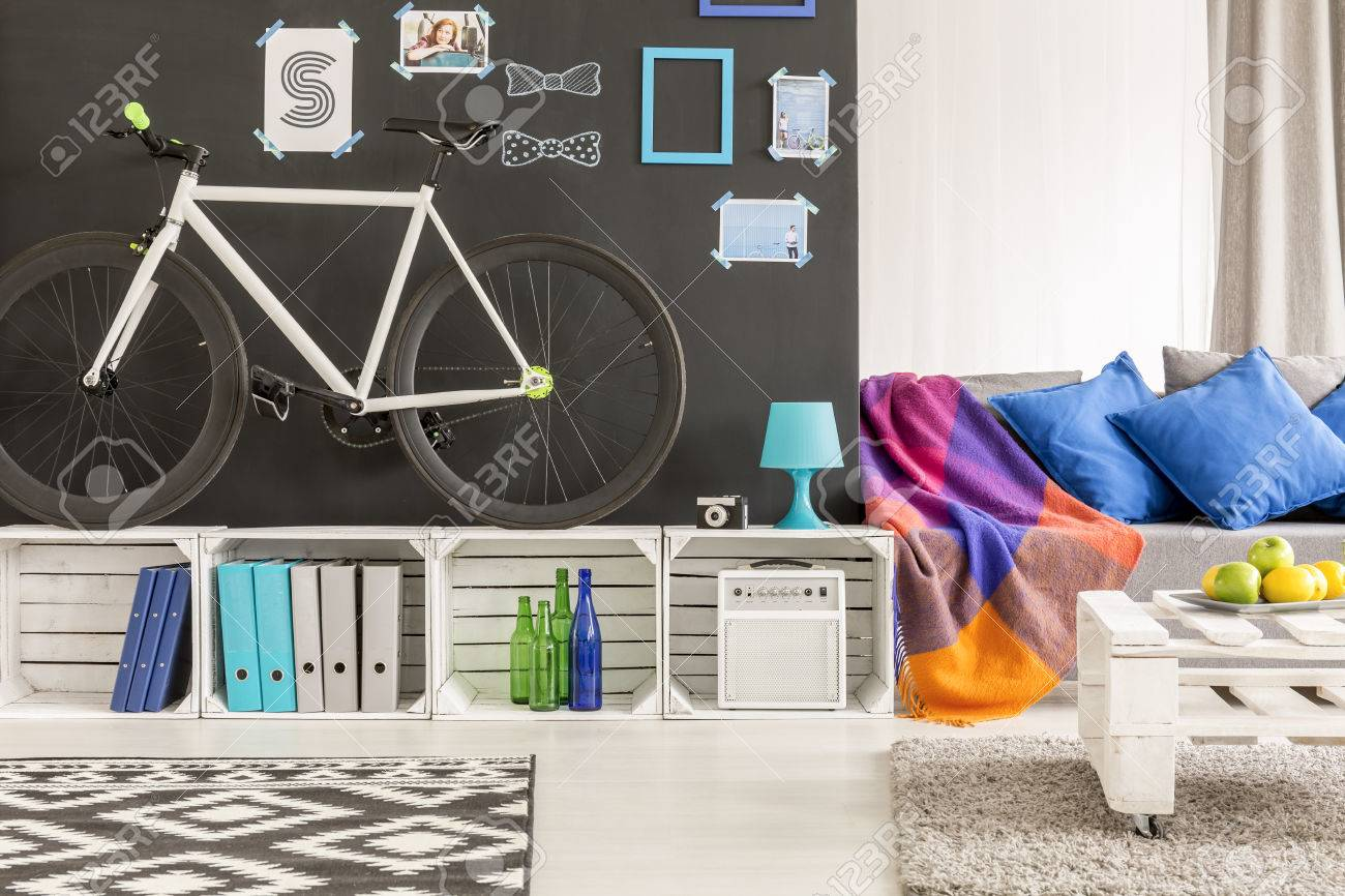 Hipster Living Room With Crate Furniture And Bicycle Stock Photo   69166610