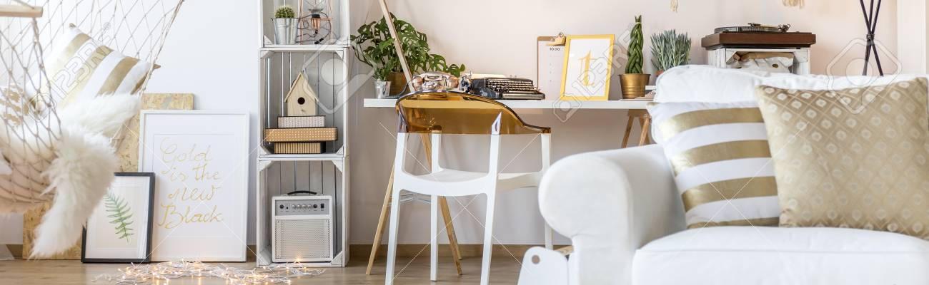 pallet furniture desk. Stock Photo - White Room With Armchair, Hammock, Desk, Chair And Pallet Furniture Desk