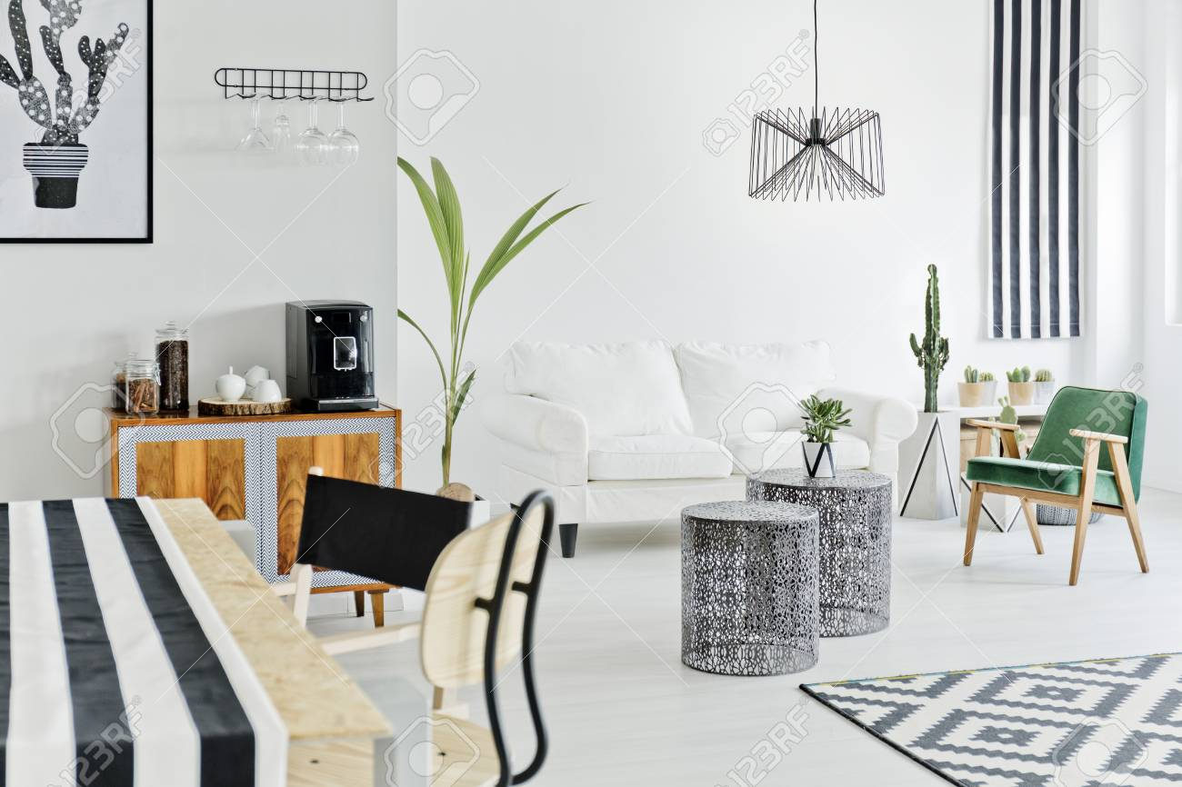 White Flat With Modern Nordic Design Stock Photo Picture And