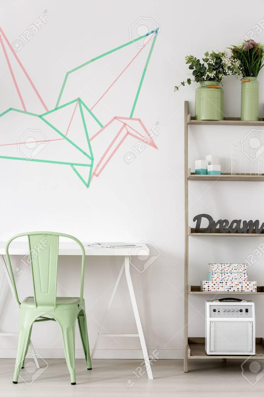 Colorful Origami Crane Decoration Idea On White Wall Stock Photo