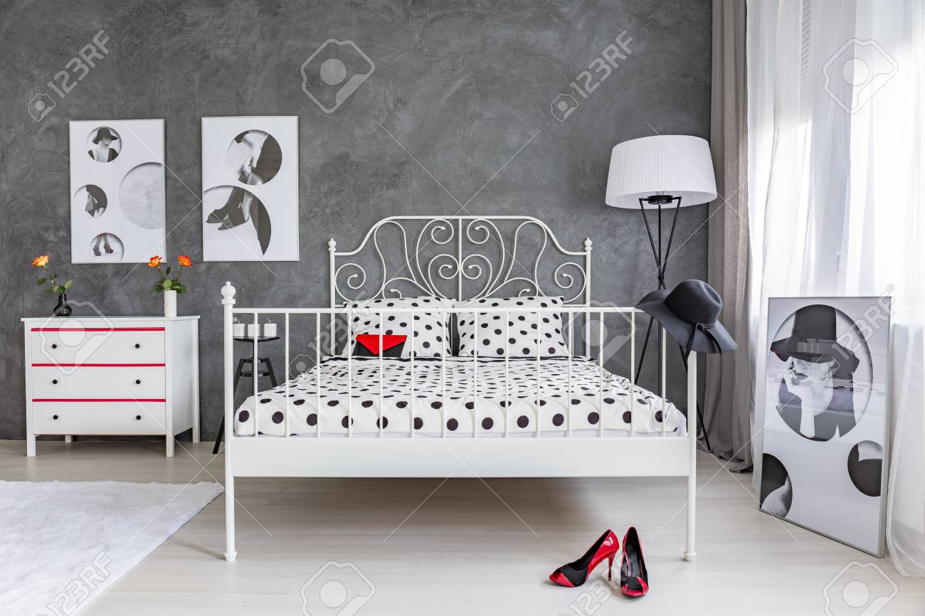 White Modern Bed In Stylish Feminine Bedroom Stock Photo Picture And Royalty Free Image Image 70228884