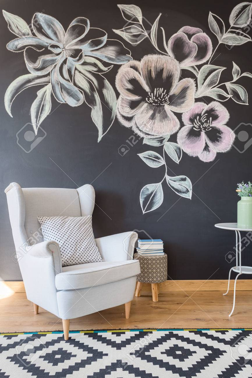 Stupendous Cozy Relax Space With Comfortable Armchair In Stylish Floral Squirreltailoven Fun Painted Chair Ideas Images Squirreltailovenorg