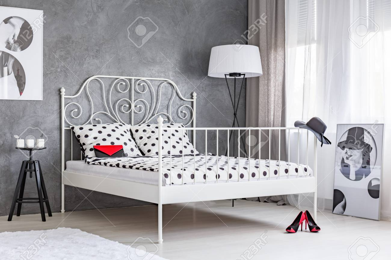 Big White Bed With Fancy Frame In A Grey Modern Bedroom Stock Photo Picture And Royalty Free Image Image 70229011