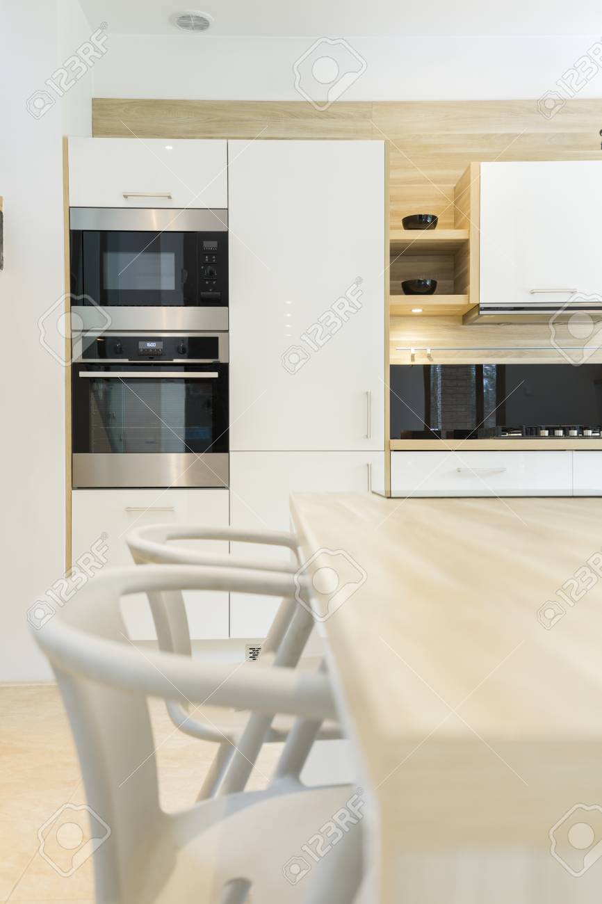Modern Kitchen With Integral Oven Microwave Built In Cabinets