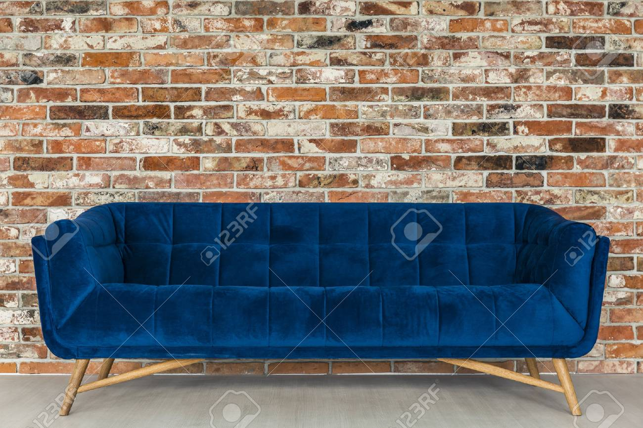 Magnificent Red Brick Wall And Vintage Upholstered Blue Sofa Interior Design Ideas Oxytryabchikinfo