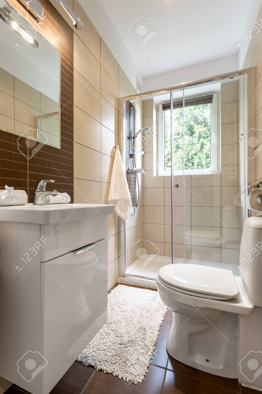 Small Bathroom Interior With Glazed Shower Toilet And Mirror Stock Photo Picture And Royalty Free Image Image 70573168