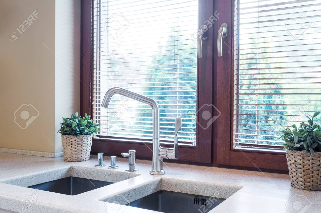 Kitchen Window Close To The Wide Tabletop With Two Sinks And.. Stock ...