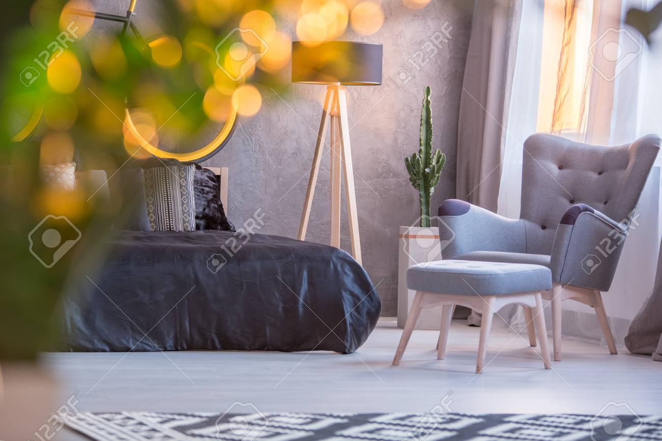 Outstanding Grey Bedroom With Black Bed Armchair And Footstool Pabps2019 Chair Design Images Pabps2019Com