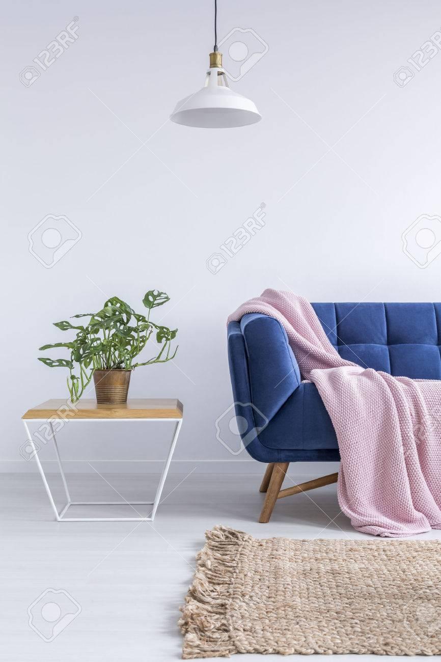 Schones Zimmer Mit Blauem Sofa Teppich Lampe Und Holztisch
