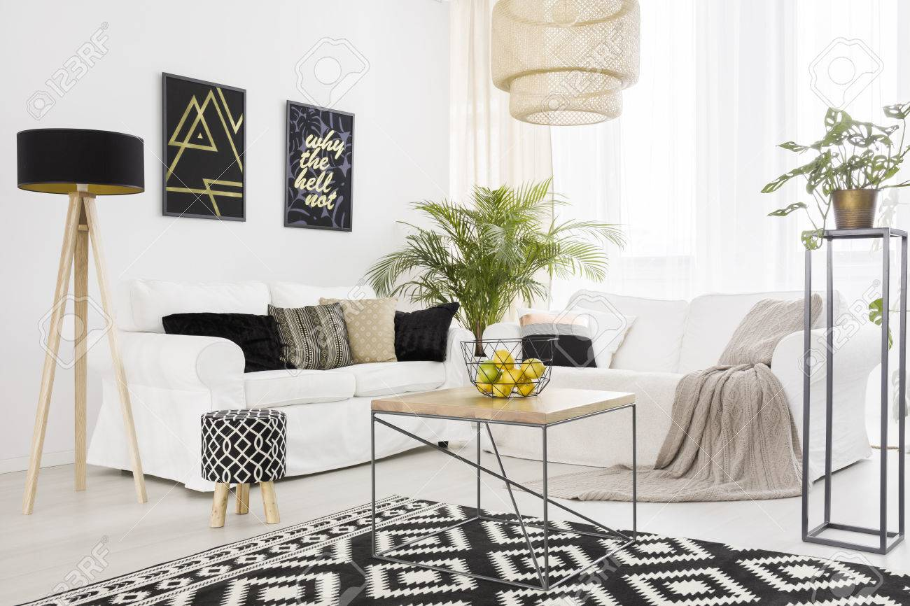 Black And White Living Room With Sofa And Pattern Carpet Stock Photo ...