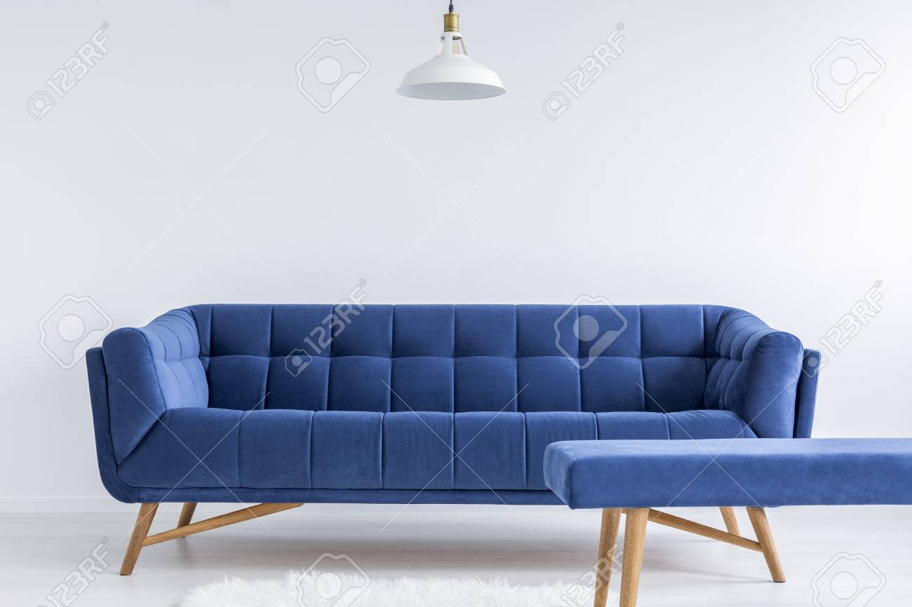 ascetic white room with lamp blue vintage sofa and bench stock photo 71340442 - Vintage Sofa