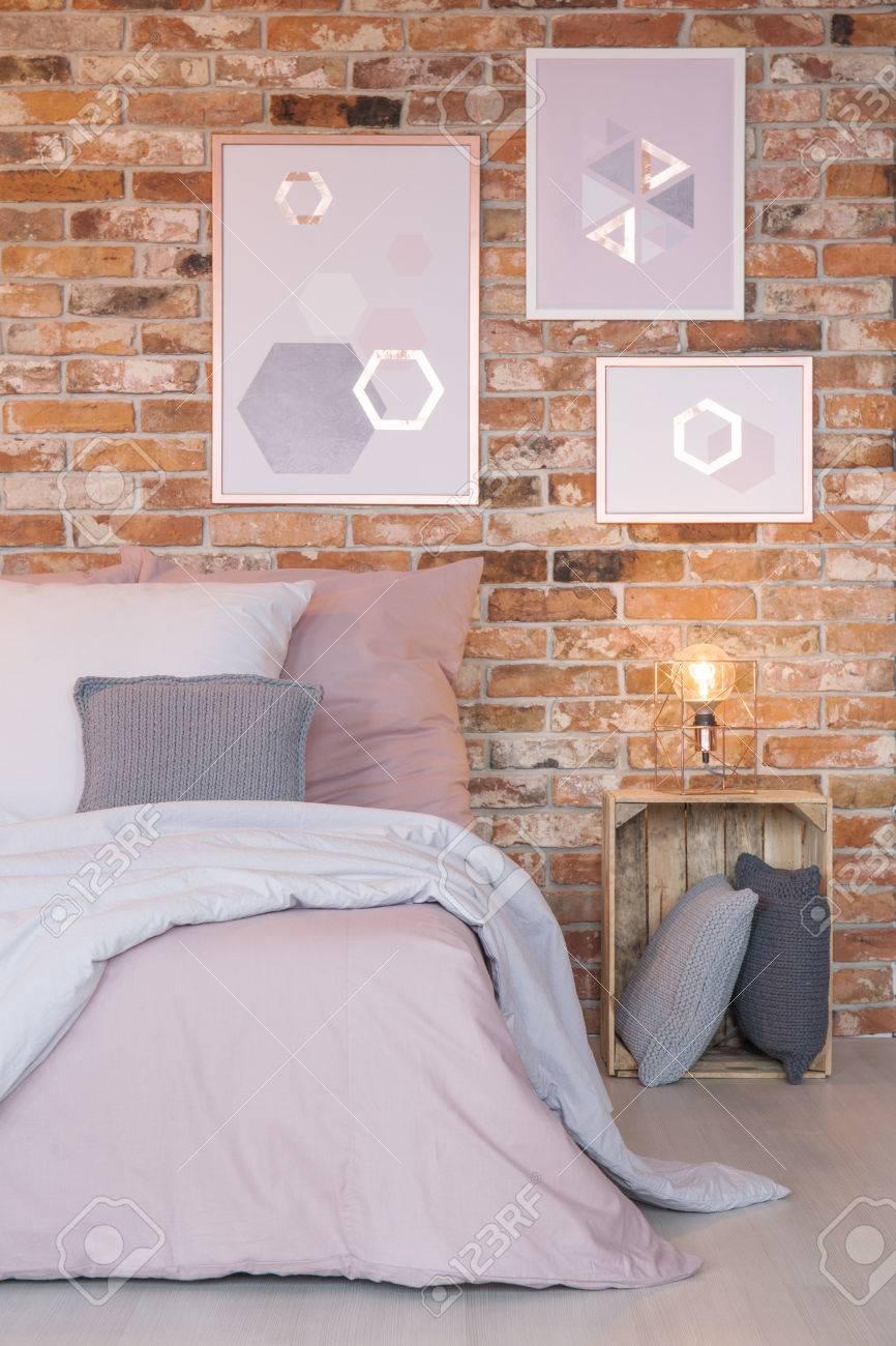 Dormitorio Con Decoracion De Pared Moderna Mesita De Noche De Cama - Decoracion-cama