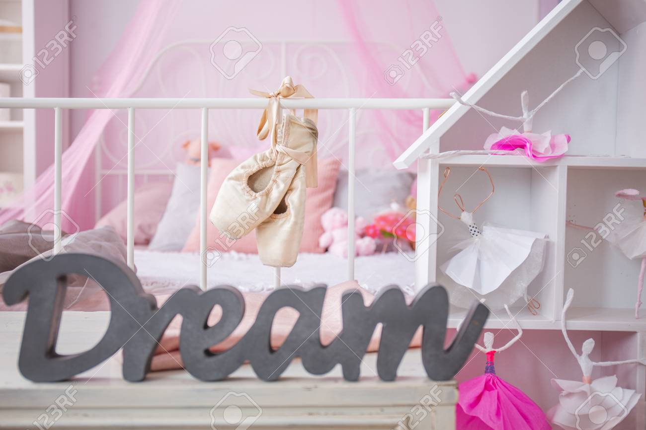 Dreamy Little Ballerina Bedroom With Pink Wall And White Furniture Stock  Photo   71353930