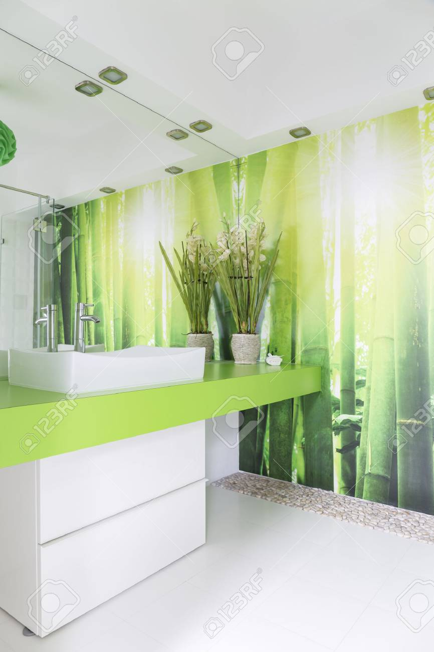 White And Green Bathroom With Countertop Basin And Bamboo Wallpaper ...