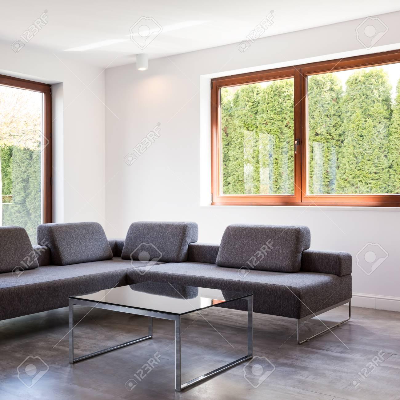 banque dimages salon moderne avec un grand canap gris et une table basse en verre debout par deux fentres