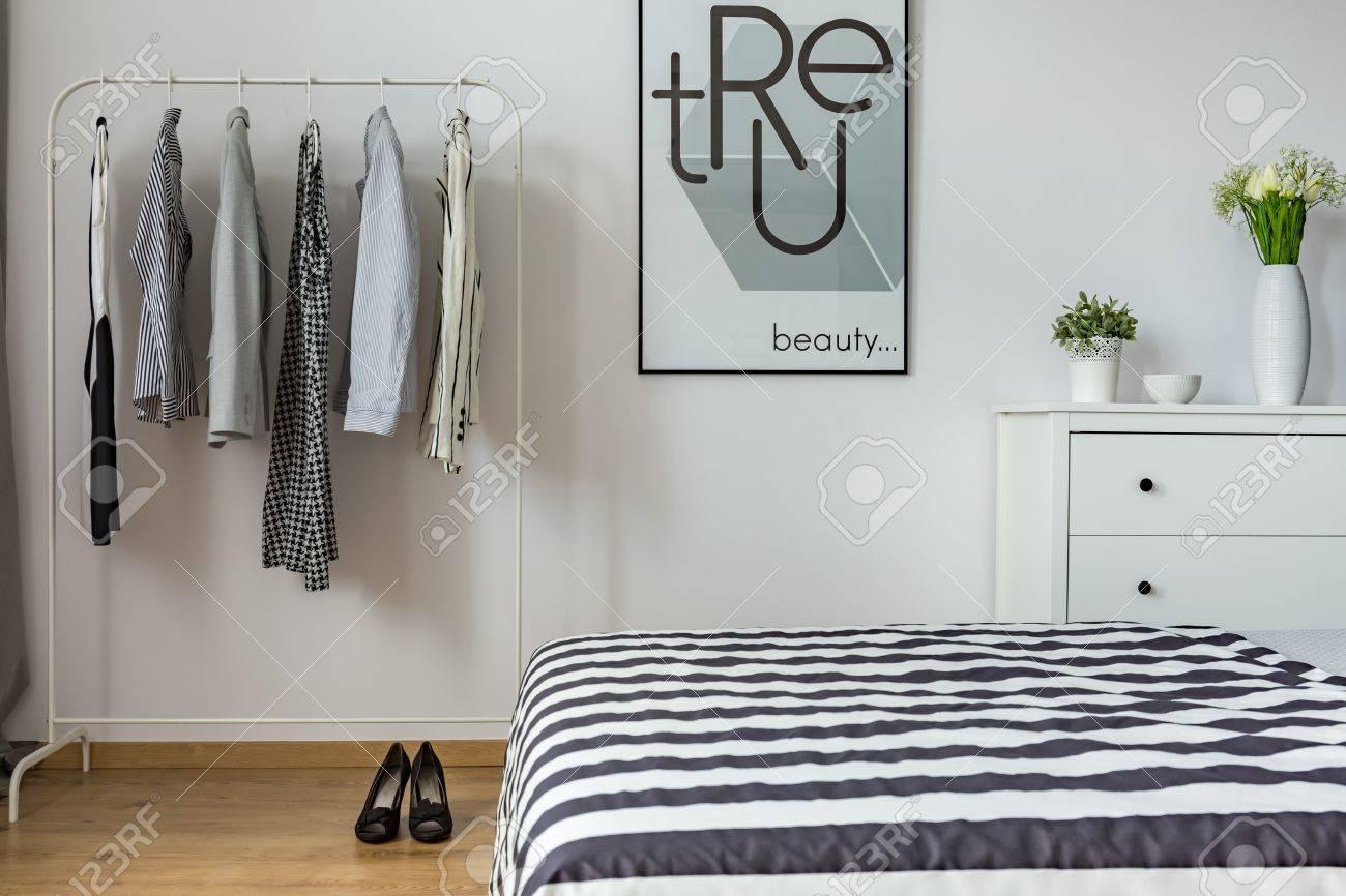 Chambre De Femme Moderne Avec Lit, Vêtements Et Commode Banque D ...