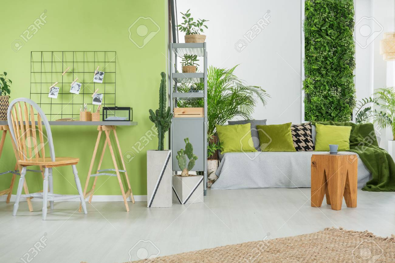 Green Home Interior With Sofa Desk Chair And Metal Bookcase Stock
