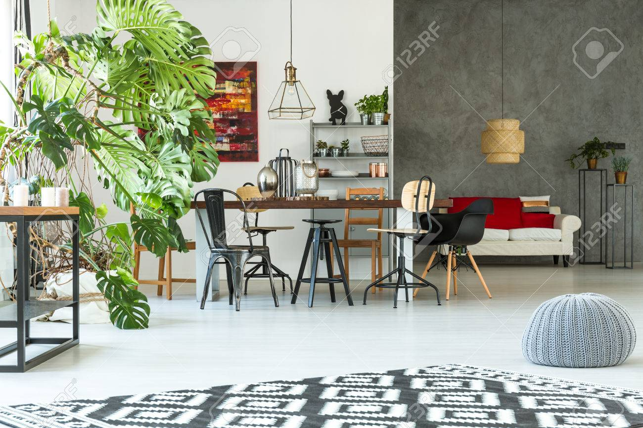 Bright, Modern Apartment With Dining Table, Sofa, Pouf And ...