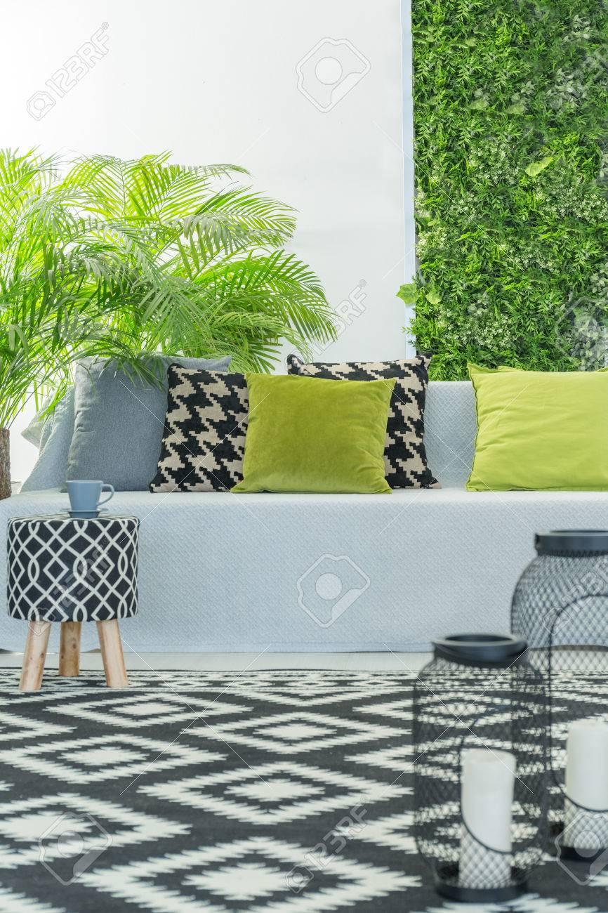 Helle, Moderne Zimmer Mit Sofa, Muster Zubehör Und Grünpflanzen ...