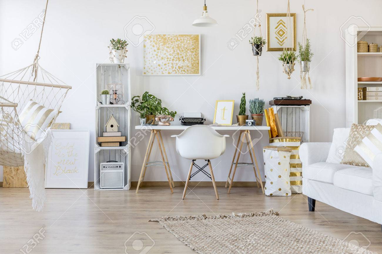 Creative Design Of Spacious Home Office In Boho Style Stock Photo