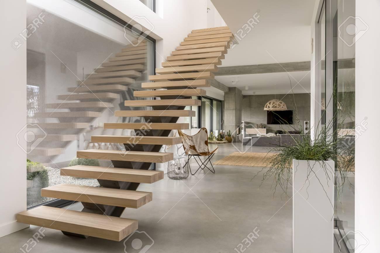 Minimalistic stairs in modern villa interior stock photo picture