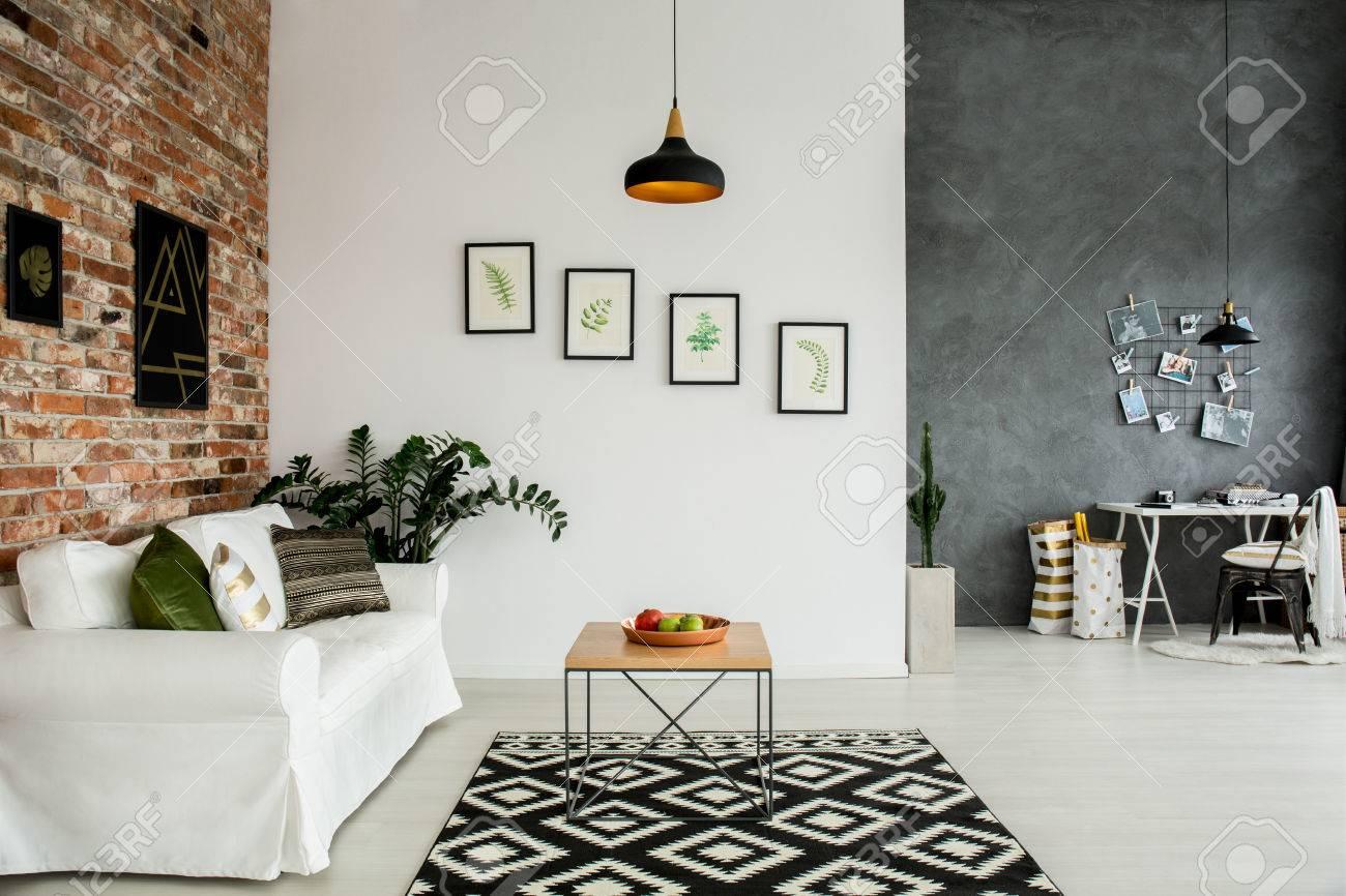 Loft Interior With Open Living Room And Simple Home Office Stock ...