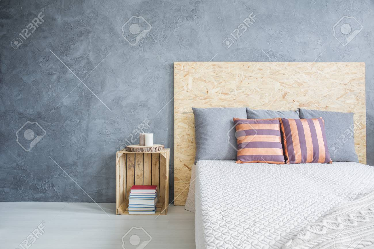 Grey Bedroom With Diy Wood Bed And Crate Side Table