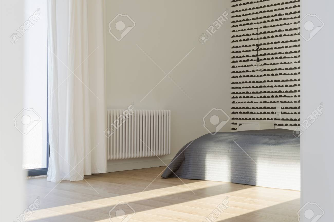 Modern Simple Master Bedroom With Wooden Floor Grey Bed Curtains Stock Photo Picture And Royalty Free Image Image 75015699