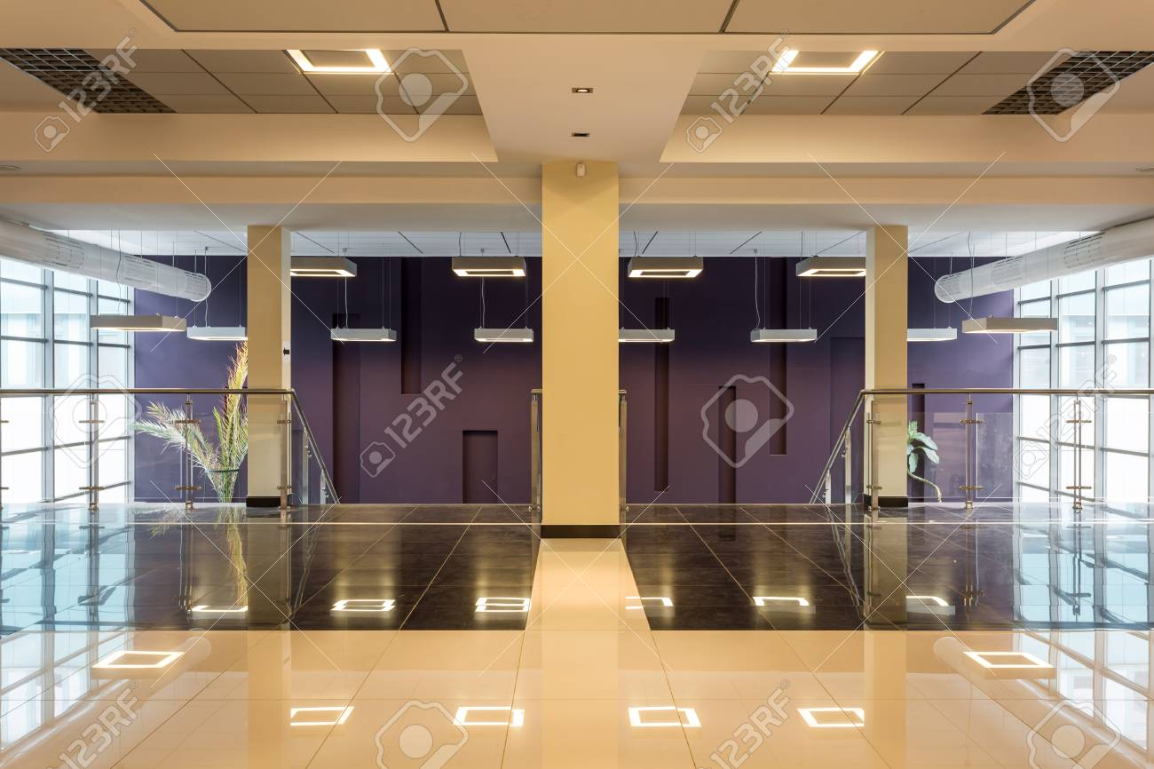 Modern University Corridor Located On The First Floor With A.. Stock ...