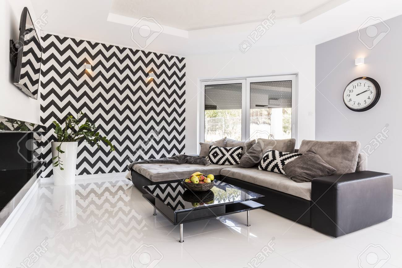 Groovy Posh Living Room In Black And White With Large Corner Sofa And Caraccident5 Cool Chair Designs And Ideas Caraccident5Info